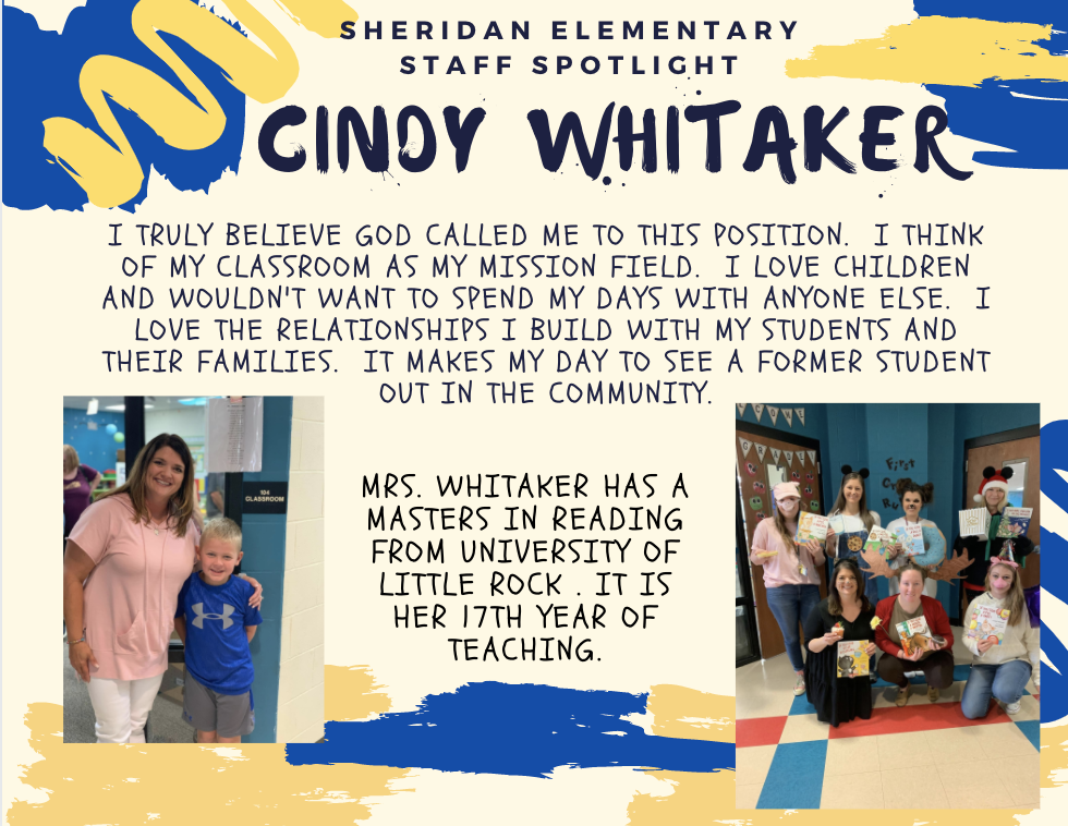 Cindy Whitaker SES First Grade Teacher