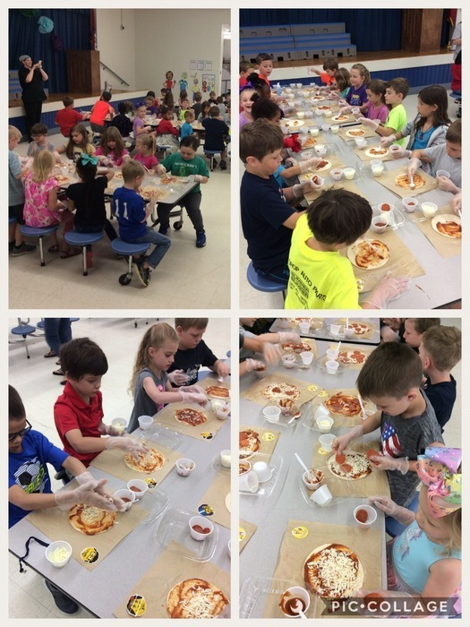 Collage of kids making pizzas