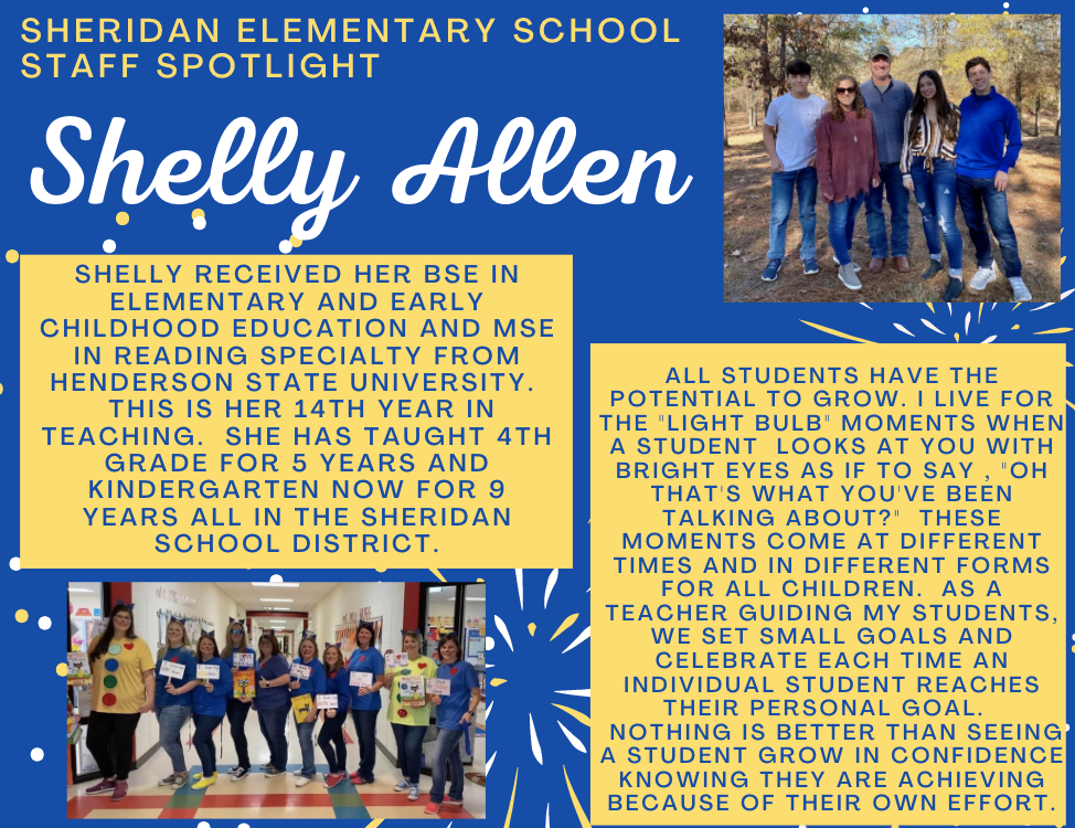 Shelly Allen,  SES Kindergarten Teacher