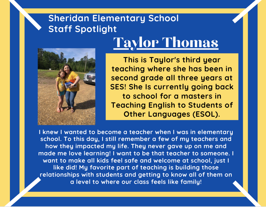 Taylor Thomas, SES 2nd Grade Teacher