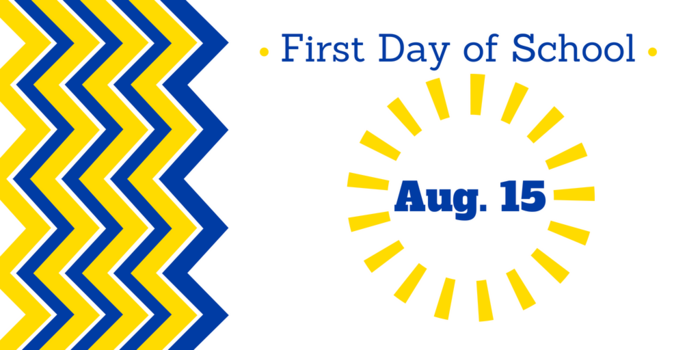Image that says first day of school is August 15