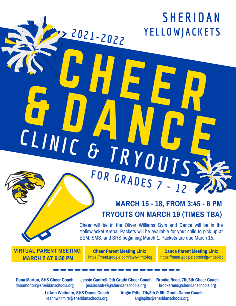 Image that says Cheer and Dance Tryouts