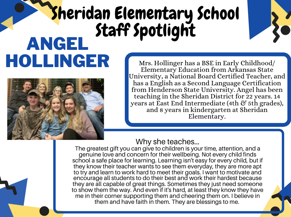Angel Hollinger, Kindergarten Teacher