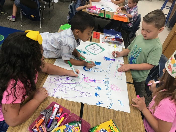 Kindergarteners learn about Book Characters