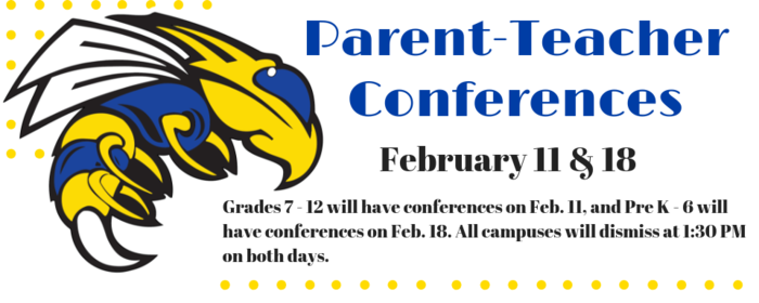 Image that says the P-T Conferences will be held Feb. 11 and 18