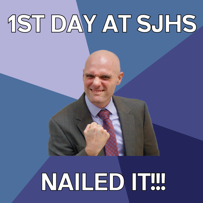 "Image of Mr. Rasnick with the text ""Nailed IT!"""