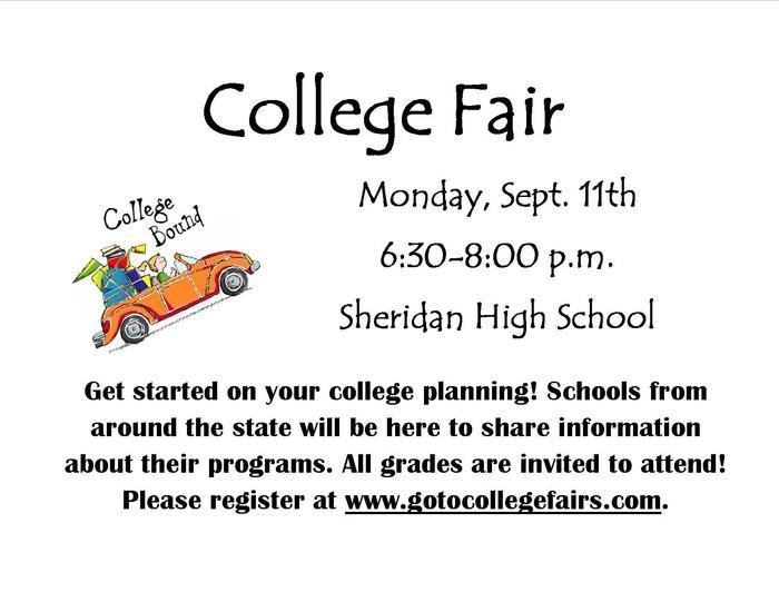 image showing college fair information