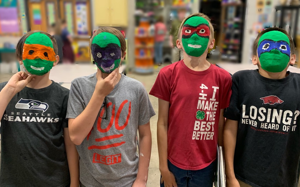 Picture of kids with Ninja Turtles mask