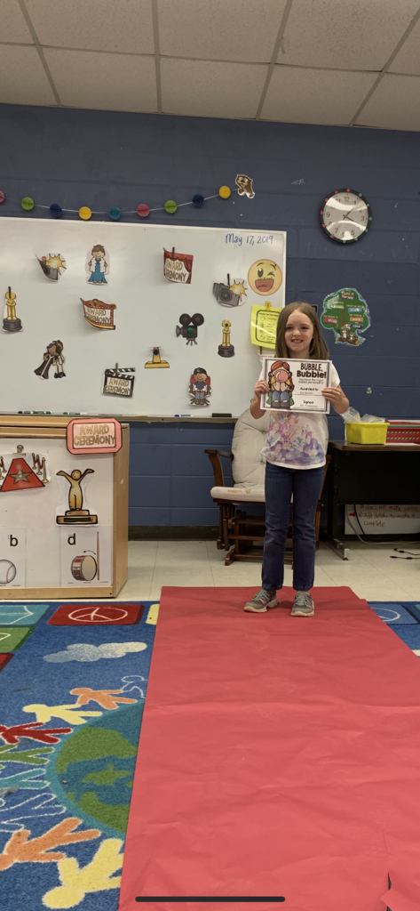 Ms. Creekmore's 2nd grade students walked the red carpet to receive classroom awards!
