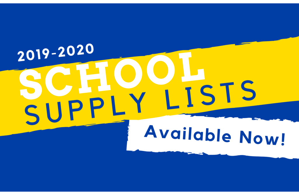 Image that says School Supply Lists Available Now