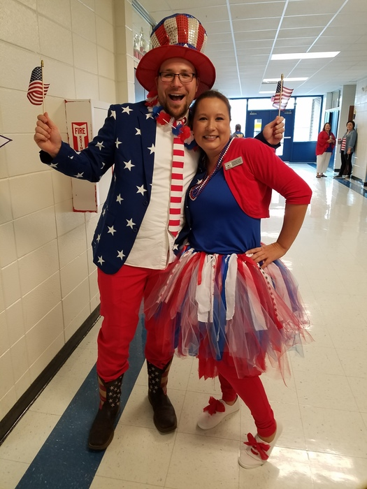 Two teachers dressed up in red, white and blue for American Day at SHS