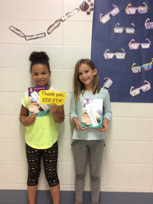 Happy readers at EEE....thanks to our PTA!