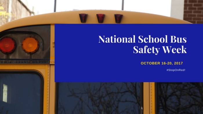 Image of a bus for National School Bus Safety Week which is Oct. 16-20