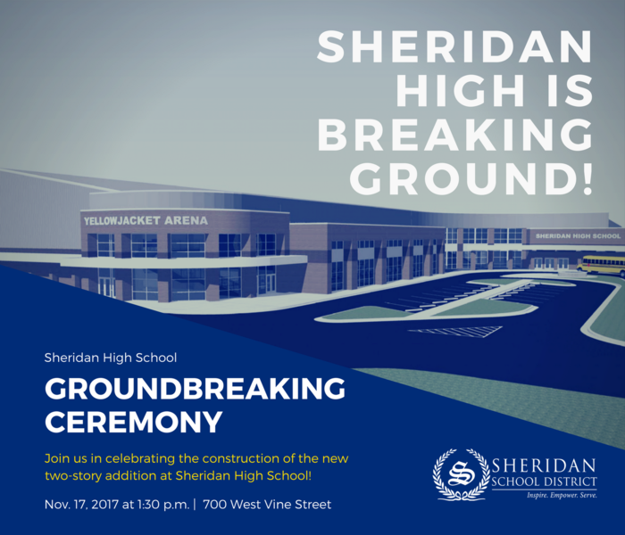 Flyer for Groundbreaking ceremony on Nov. 17 at 1:30 p.m. at SHS