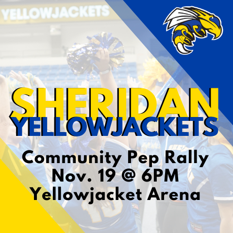 Image that says community pep rally