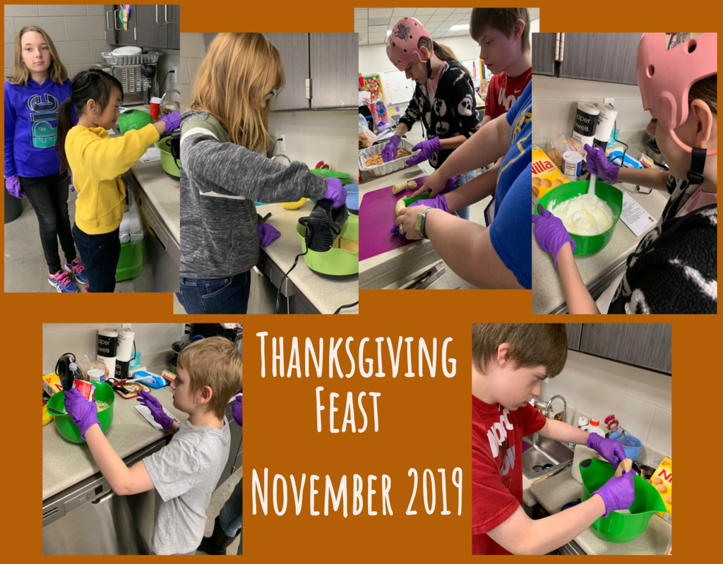 East End Middle School students prepare a Thanksgiving meal
