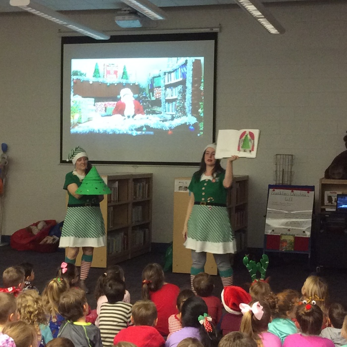 Santa sends elves for a special visit at EEE! Thanks to Saline County Library!