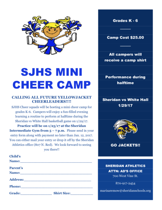 Mini Cheer Camp Flyer: available at the link