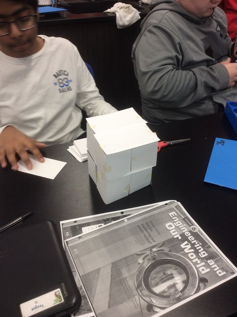 7th-grade STEM - Index Card Towers