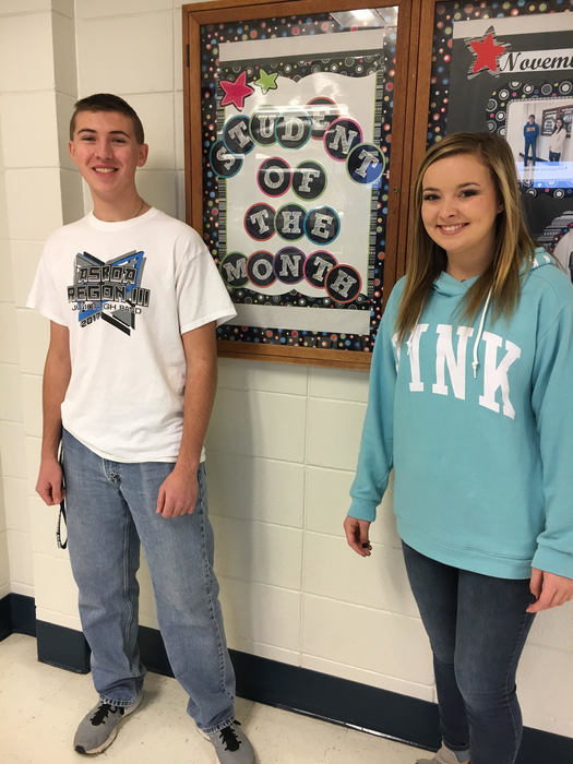 December Students of the month (seniors): Caleb Head and Kylee Williamson