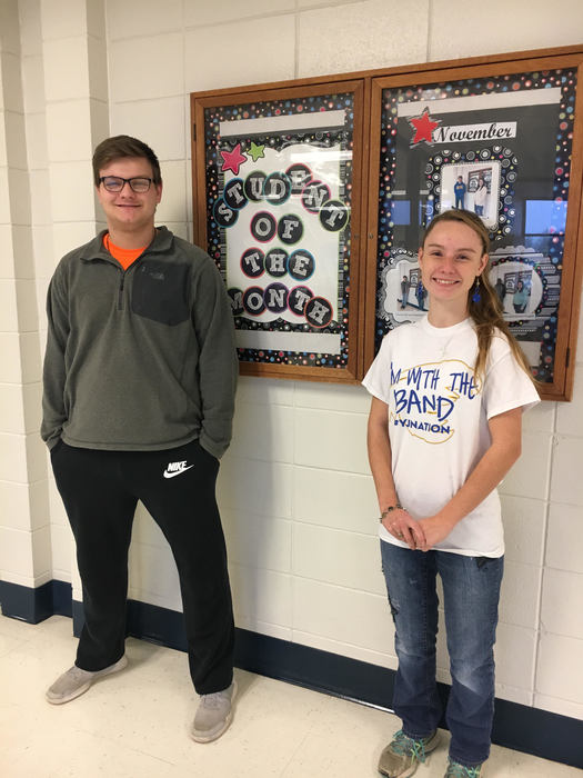 Juniors Dalton Mosley and Stacey Garner: December Students of the Month