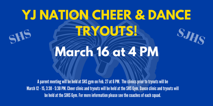 Graphic that shows Cheer and Dance Tryouts are March 16 at 4 p.m.