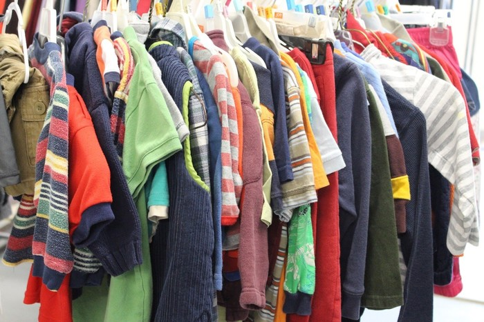 rack of children's clothing