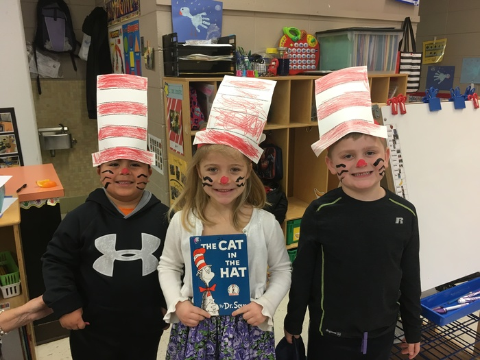 Preschool Students dressed up for Dr. Seuss' Birthday