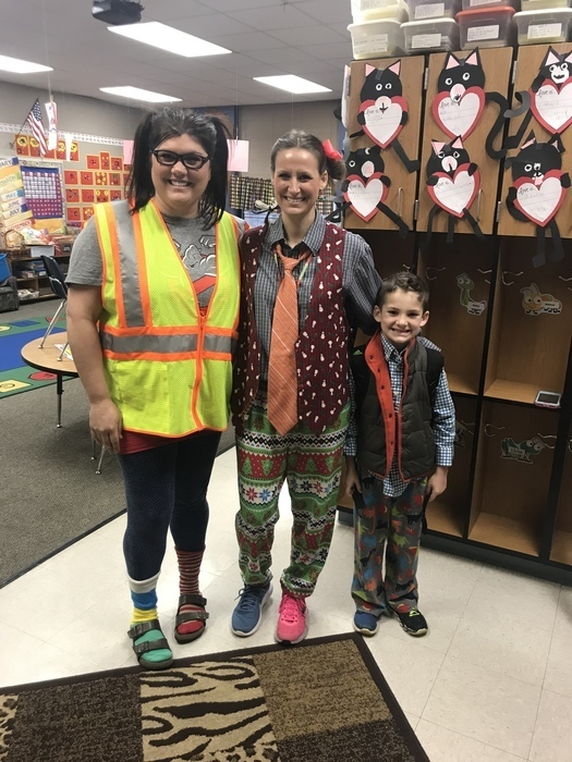 "Two teachers and a student dressed ""wacky"" for Wacky Wednesday"