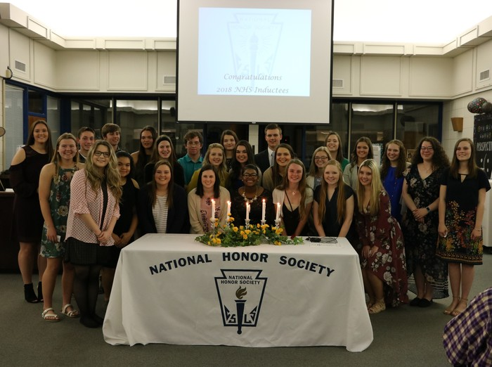 new national honors society members at induction ceremony