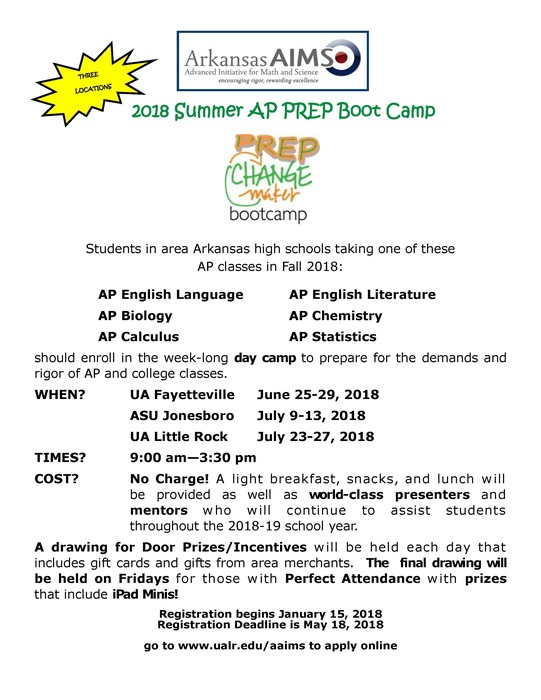 Flyer for AP Prep Bootcamp at UALR on July 23 - 27