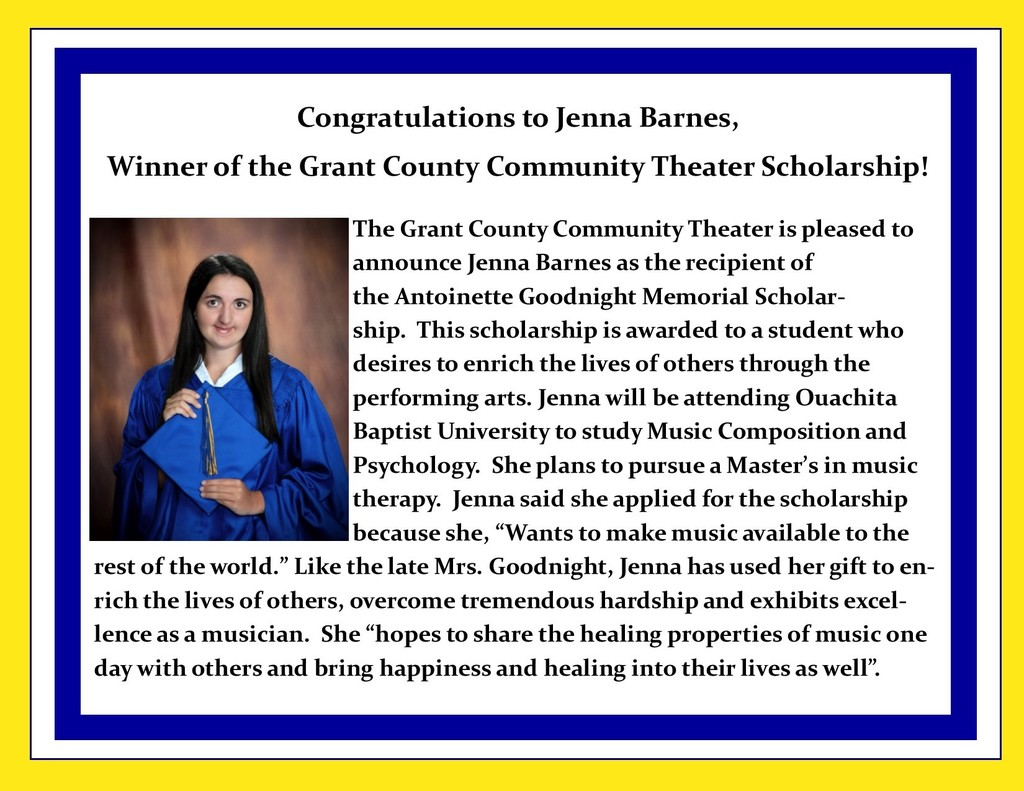 Picture of Jenna Barnes and description scholarship