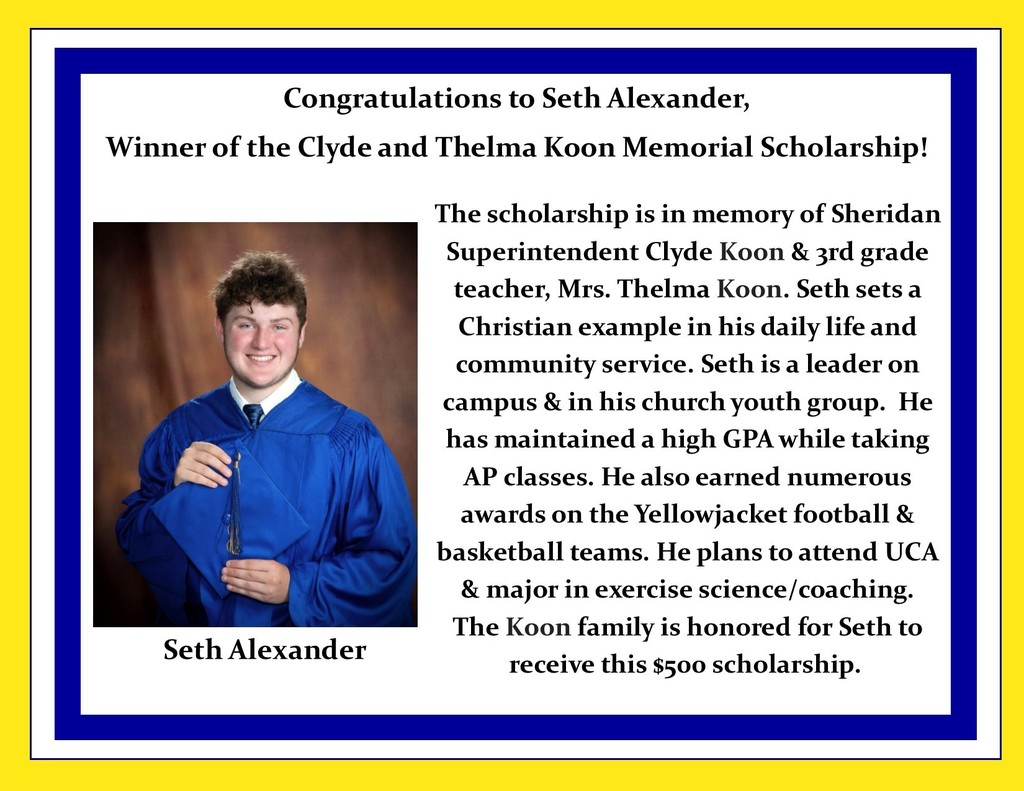 Picture of Seth Alexander and description of scholarship