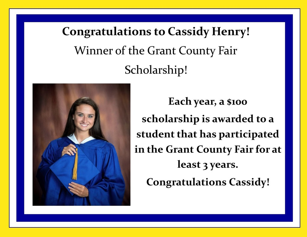 Picture of Cassidy Henry and description of scholarship