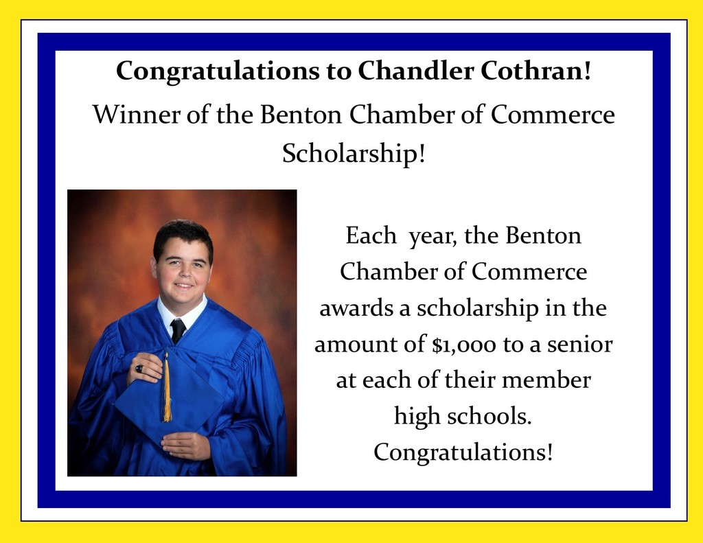 Picture of Chandler Cothran and description of scholarship