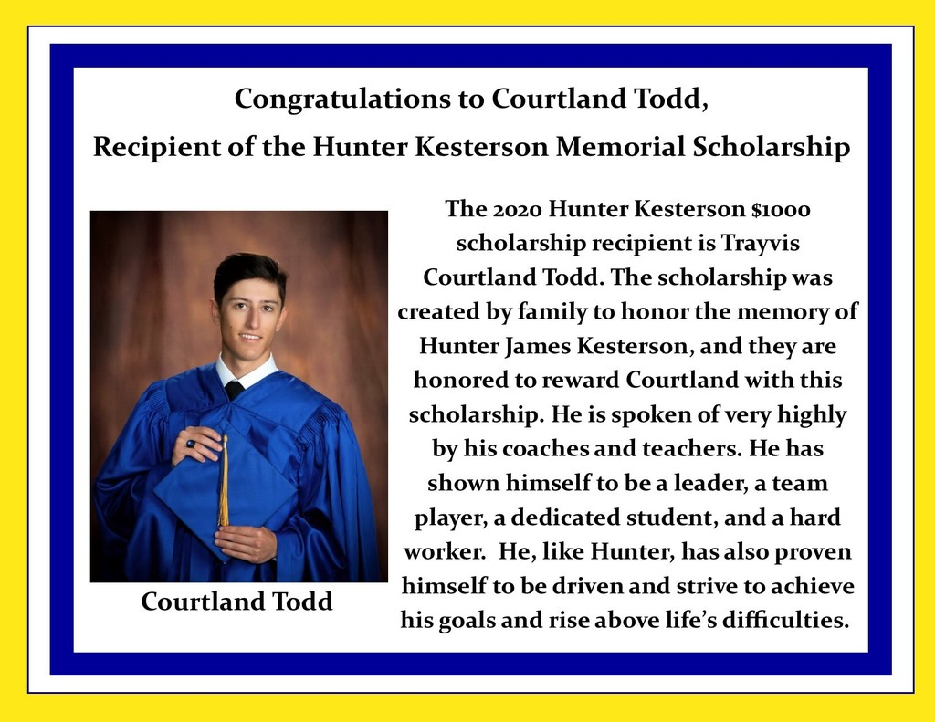 Picture of Courtland Todd and description of scholarship