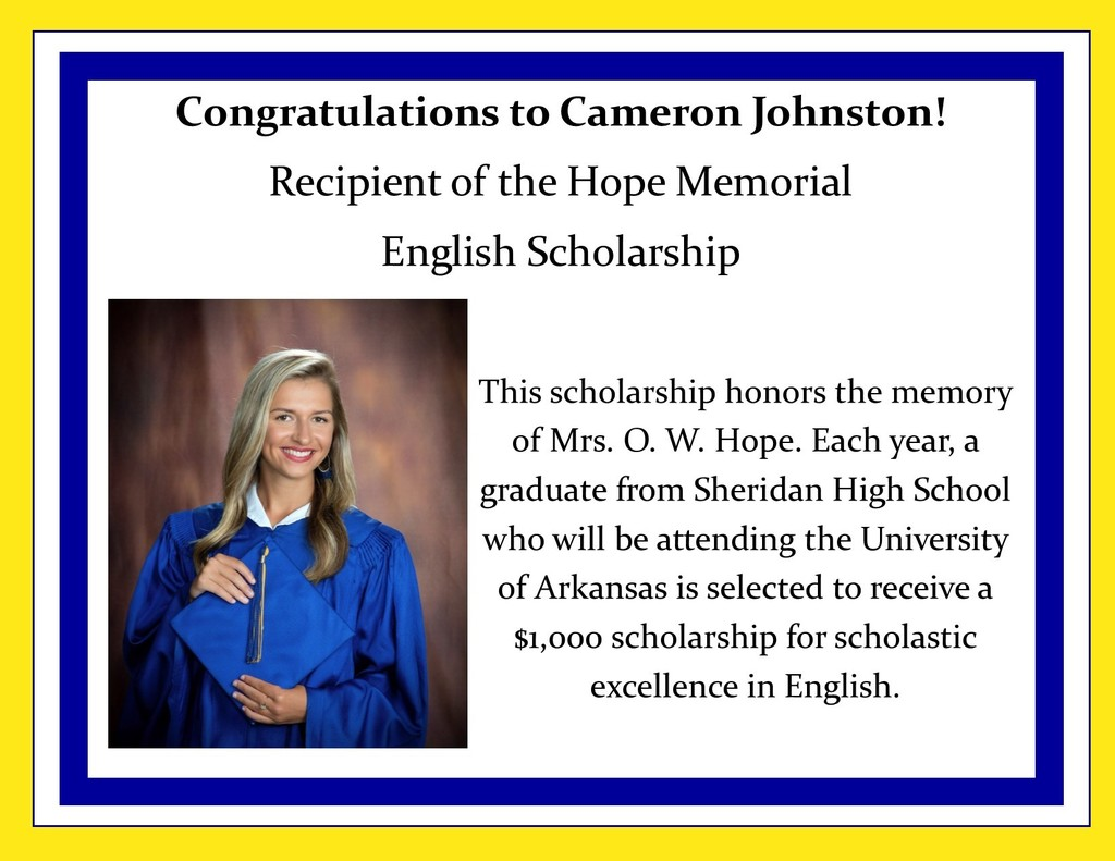 Picture of Cameron Johnston and description of Hope Memorial English Scholarship