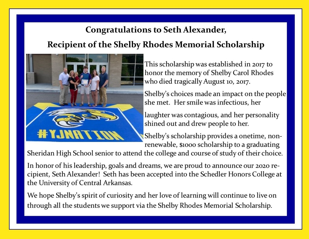 Picture of scholarship presentation and description of scholarship