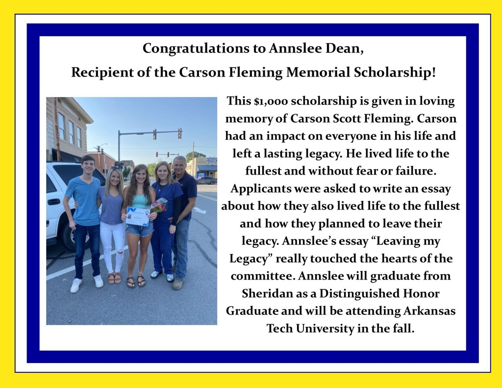 Picture on Annslee with Carson's family and description of scholarship and winner.
