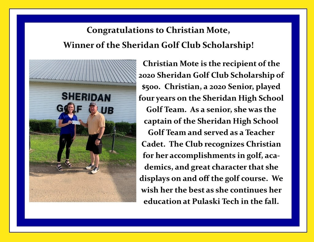 Picture of scholarship presentation and description of scholarship and winner.