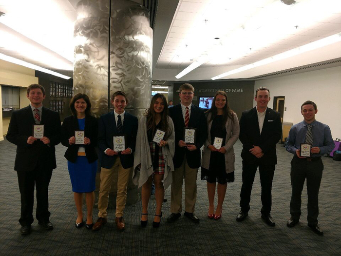 Picture of FBLA Students with Plaques