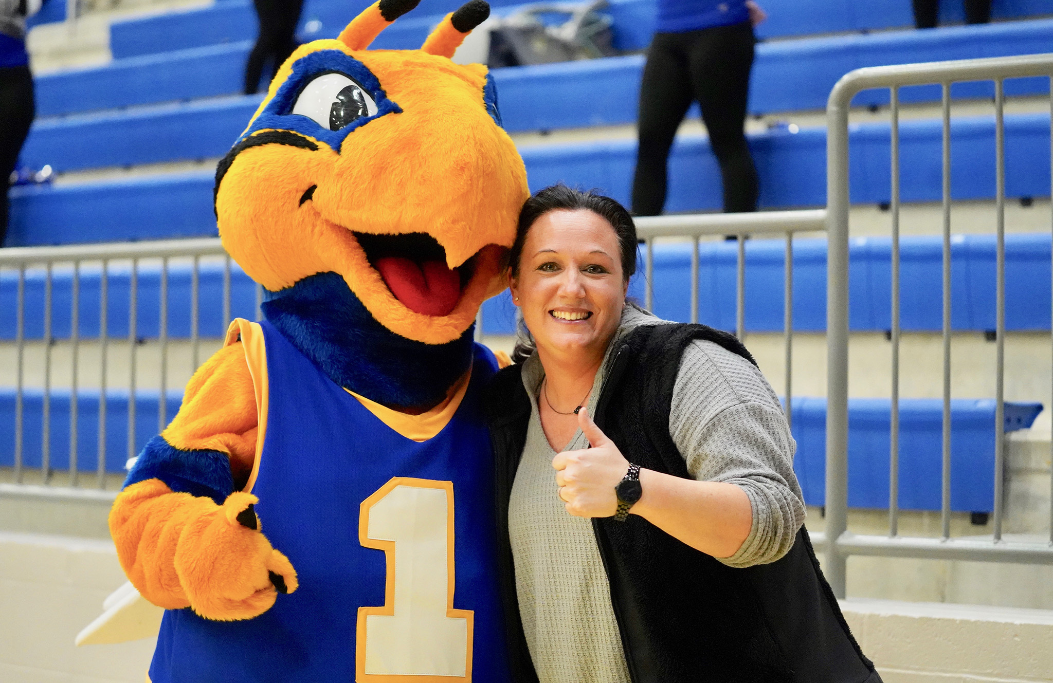 Picture of Mascot with a Coach