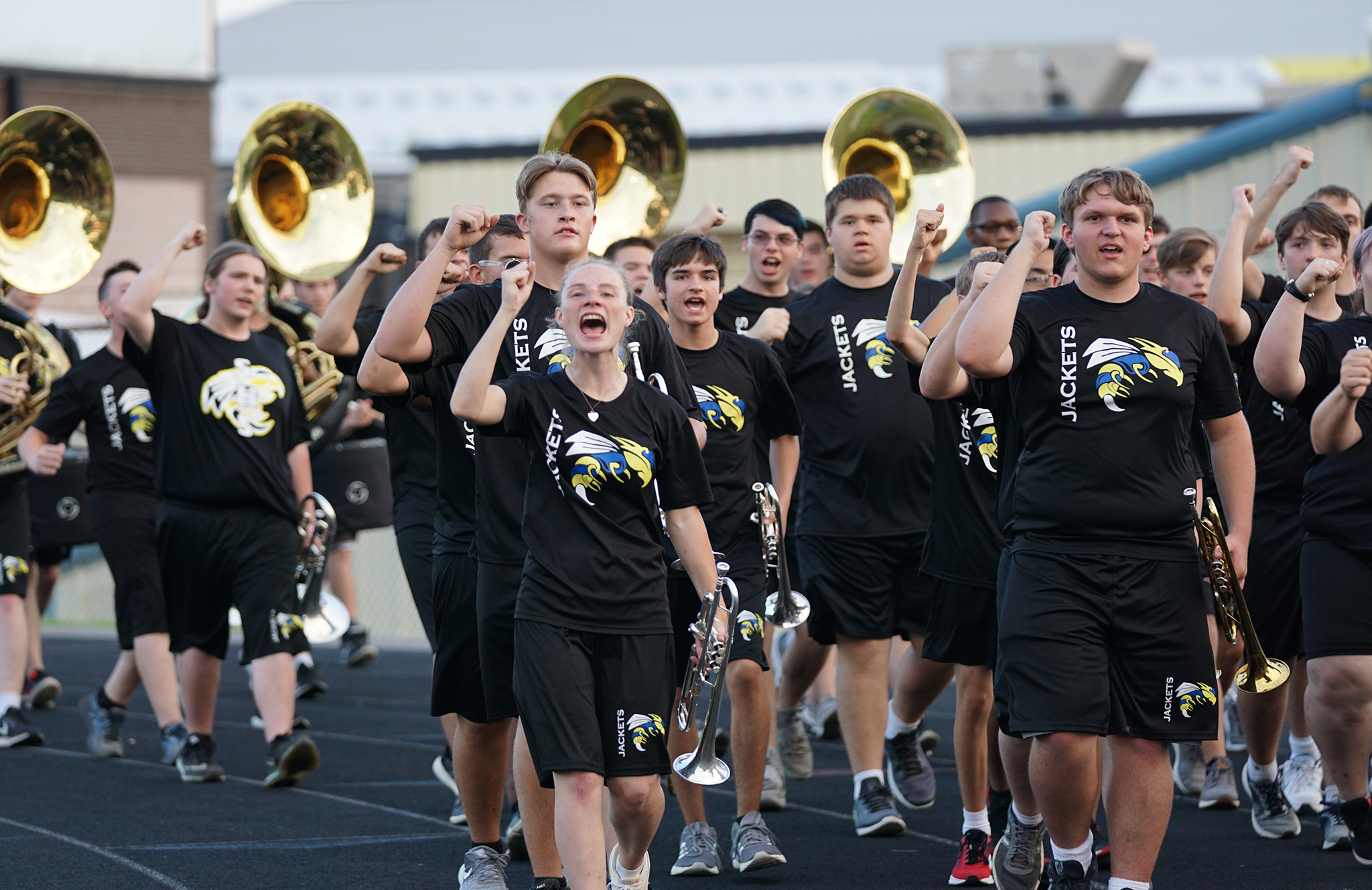 Image of band students cheering