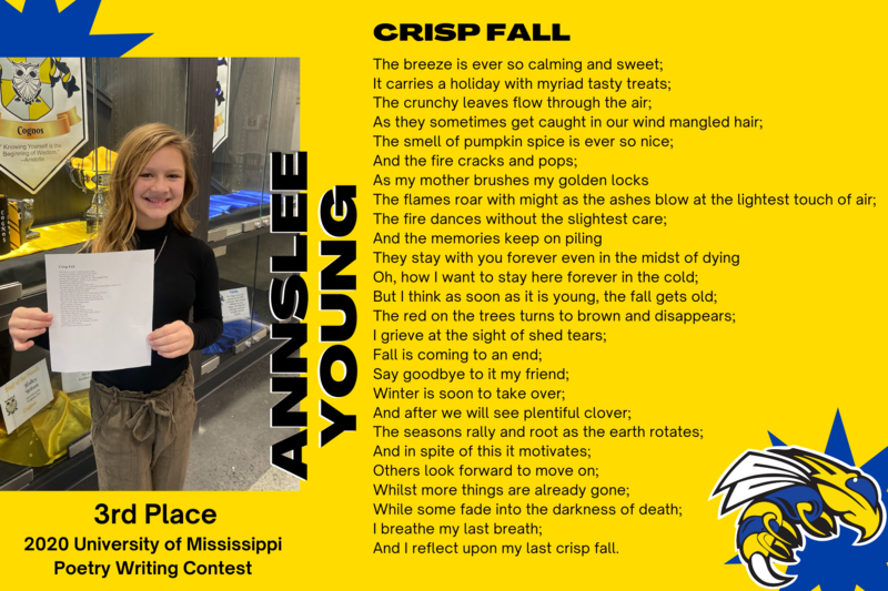 6th Grader Annslee Young Earns 3rd Place in University of Mississippi Poetry Contest