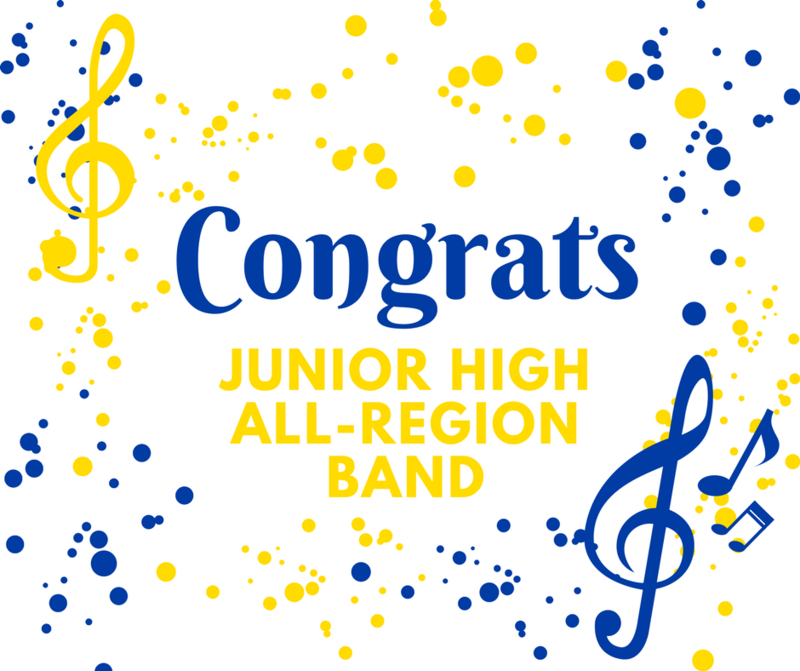 Congratulations to the following students for winning chairs in the Jr High All-Region Band!