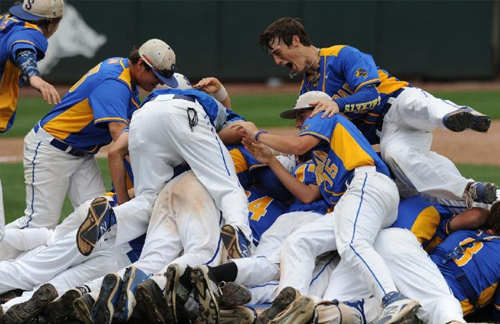 Baseball team celebrating after becoming state champions