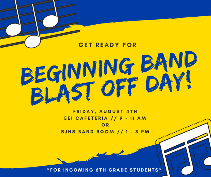 Infographic for beginning band blast off day containing information that can be found in article